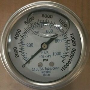 302lfw 254v 2 5 Glycerin Filled Ss 316 Internal Gauge 1 4 Npt Cbm 0 15 000 Psi