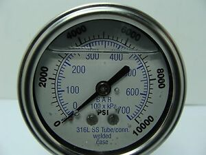 302lfw 254u 2 5 Glycerin Filled Ss 316 Internal Gauge 1 4 Npt Cbm 0 10 000 Psi