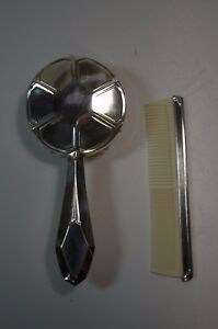 Antique French Silver Plated Art Deco Hair Comb Brush Set Christening Baby Gift