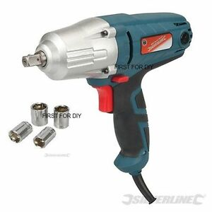 Silverline 400w Electric 240v 1 2 Drive Impact Wrench Sockets Heavy Duty New