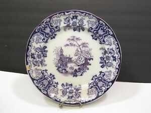 Antq Flow Mulberry Purple Transferware Staffordshire Dinner Plate Simla 10