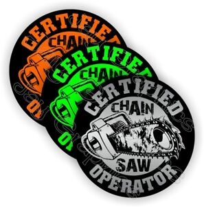 (3-pack) CHAIN SAW Operator Funny Hard Hat Stickers | Helmet Decals Laborer USA