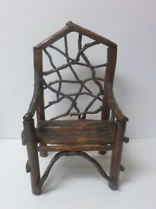 Vintage Hand Crafted 14 5 Doll S Country Primitive Twig Chair 1