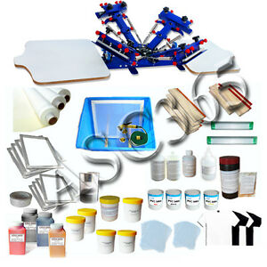 Micro adjustable 2 Station 4 Color Silk Screen Printing Kit Shirt Press Tools