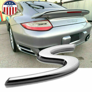 1x Silver Chrome S Emblem Porsche Badge Turbo S 911 918 Spyder 718 Cayman Boxter