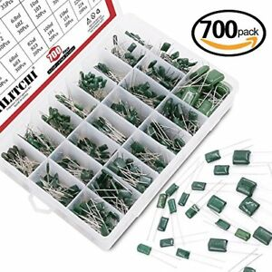 Hilitchi 700pcs 24 value Mylar Polyester Film Capacitor Assortment Kit 0 22nf