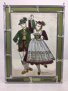 Vintage German Stained Glass Window Folkloric Couple Art Deco Nouveau