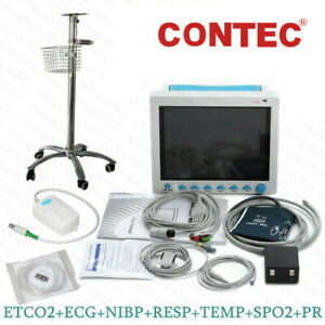 Fda Ce Vital Signs Icu Cardiac Patient Monitor Capnography Etco2 Rolling Stand