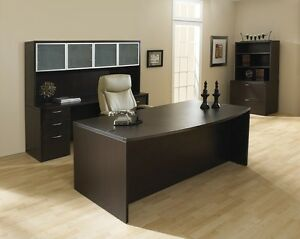 New Napa Espresso Bowfront Executive Office Desk Set credenza hutch lateral File