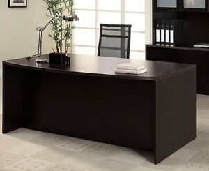 New Amber Bow Front Executive Office Desk