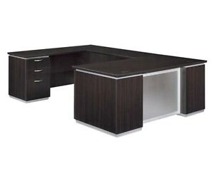 New Pimlico Mocha Modern Executive U shape Office Desk With Frosted Glass Panel