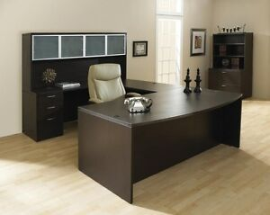 New Napa Espresso Bowfront U shape Executive Office Desk Set With File Hutch