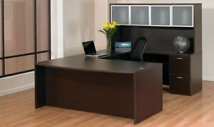 New Napa Espresso Bowfront U shape Executive Office Desk With Glass Door Hutch