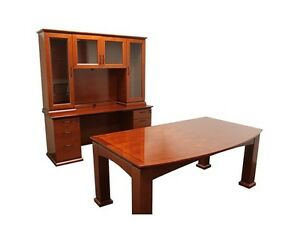 New Emerald Executive Office Desk Table With Credenza And Hutch Set