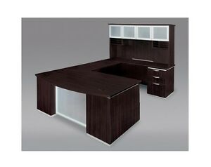 New Pimlico Mocha Modern Bowfront Executive U shape Office Desk With Hutch