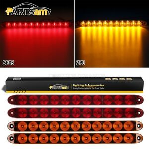 4xred amber 15 11led Stop Turn Signal Tail 3rd Brake Light Bar Flange Mount 12v