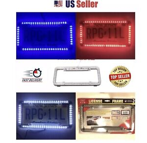 Universal 12v 60 Led Lights Front Rear Acrylic License Plate Cover Frame Kit