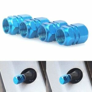 4pcs Light Blue Anodized Aluminum Tire Valve Stem Cap For Auto Car Truck Bike