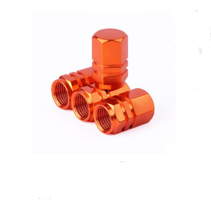 4pcs Orange Anodized Aluminum Tire Valve Stem Cap Fit For Auto Car Truck Bike