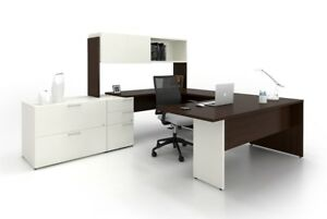 C a Modern White U shape Executive Office Desk With Hutch And Lateral File