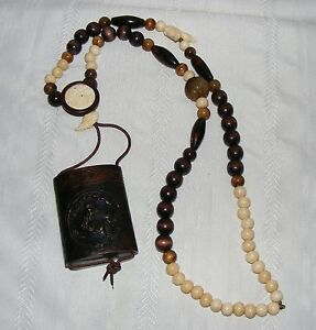 Very Beautiful Japanese Wood Carved Inro With Bead Necklace Signed