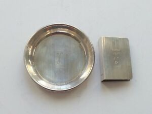 Art Deco Sterling Silver Individual Match Book Cover Ashtray 30 Grams