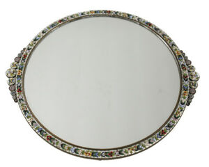 C1920 Italian Micro Mosaic Mirrored Footed Vanity Tray Floral Mosaic Frame
