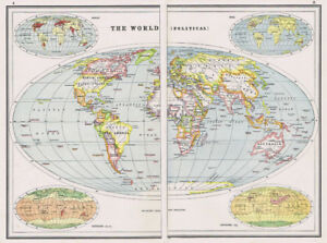 Antique Map 1920 World Map Political Harmsworth Atlas
