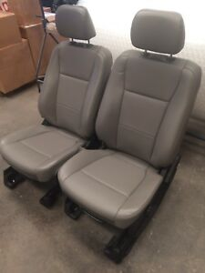 Ford F250 F350 Superduty Front Bucket Seats New Oem Grey Tan Vinyl Leather Set