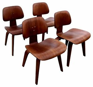 Vintage Mid Century Modern Orig Eames For Herman Miller Dining Chairs Set Of 4