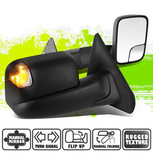 Black Manual Side Towing Mirrors Smoked Led Signal For Dodge Ram 1500 3500 02 09