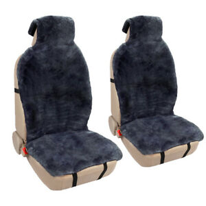 Sheepskin Two Seat Cushion And Two Shoulder Pad Fit Universal Gray