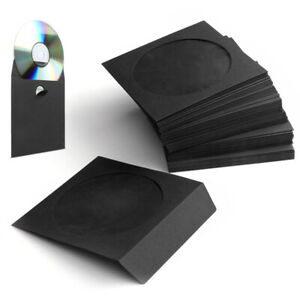 100 Pack Cd Dvd Thick Paper Sleeves Envelope Case With Window Cut Flap In Black