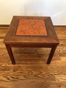 Mid Century Vintage John Keal Brown Saltman Walnut Side Table W Enamel Copper