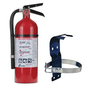 Kidde Pro Rechargeable Fire Extinguisher Bundle Wall Mount Bracket For Home Auto