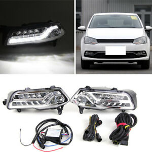 For Polo 2014 16 Auto White Led Daytime Running Lights Drl Lamps Trim
