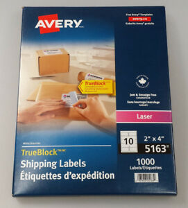 New 5163 Avery Trueblock 2 x4 Laser Shipping Labels 1000 Box