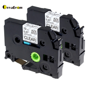 2pk Tze131 Tz131 P touch Label Tape Compatible For Brother 12mm Black On Clear