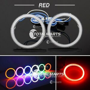 1pair 85mm Cob Led Angel Eyes Halo Ring Headlight Drl Cover Lamps Red