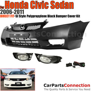 Front Bumper Cover W Grille Fog Lights 06 11 For Honda Civic 4d Si Style Trim