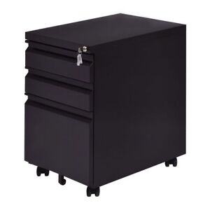 Black Rolling File Storage Cabinet 3 Drawers Office Home Organizer Furniture New