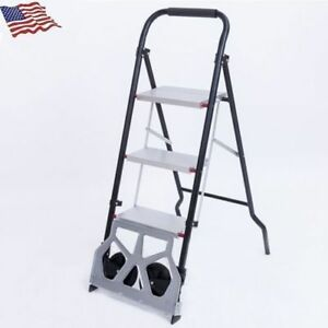 2in1 Portable Step Ladder Folding Luggage Cart Dolly Hand Truck 2 Wheels 660lbs