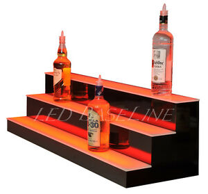 48 Led Lighted Bar Bottle Rack Shelves Remote Color Changing Three Steps