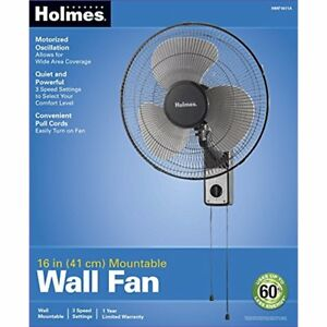 Wall Mountable Fan Rotary Knob Pull Cord Durable Metal Frame Hanging Fans 16