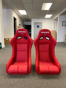 Bride Vios Low Max Red Gradation Cloth Racing Bucket Seats Pair Jdm