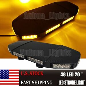 20 48 Led Warn Emergency Beacon Flash Truck Wrecker Roof Strobe Light Bar Amber