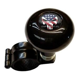 Black Steering Wheel Suicide Spinner Handle Knob Car Truck Punish Skull Usa Flag