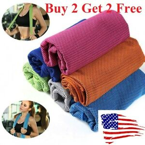 Buy 2 get 2 free ice Cooling Towel for Sports Workout Fitness Gym Yoga towels $3.89