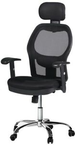 Cctro High Back Mesh Office Chair With Headrest And Armrest 360 Degree Swivel