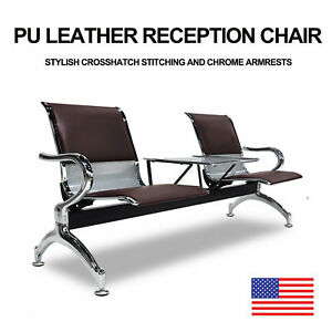 Pu Leather Waiting Room Chair W Table 2 seat Reception Office Guest Chairs